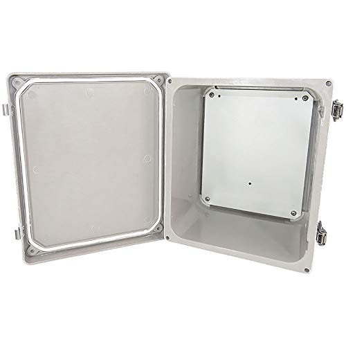 Altelix 10x8x6 FRP Fiberglass NEMA 4X Box Weatherproof Enclosure with Aluminum Equipment Mounting Plate, Hinged Lid & Stainless Steel Latches