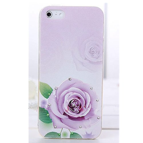 EVTECH(TM) 3D TPU Embossed Series Purple Flower Handmade Crystal Rhinestone Heart Diamond Bling Cover Soft Faceplate Case for iPhone 4 / 4S T-Mobile Sprint AT&T Verizon(100% Handcrafted)