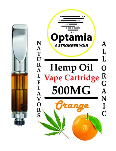 Hemp Oil Extract Vape Cartridge 500mg by Optamia, Natural Orange Flavor for Pain Anxiety & Stress Relief - Grown in Nevada, U.S.A.