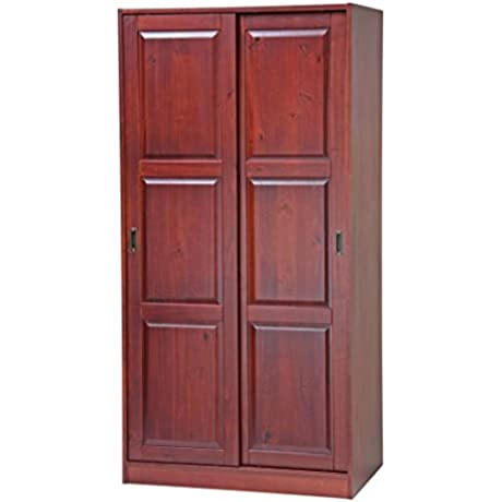 100 Solid Wood 2 Sliding Door Wardrobe Armoire Closet Mudroom Storage By Palace Imports Mahogany 1 Large Shelf 1 Clothing Rod Included Extra Optional Shelves Sold Separately Requires Assembly