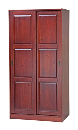 100% Solid Wood 2-Sliding Door Wardrobe/Armoire/Closet by Palace Imports, Mahogany Color, 1 Full Shelf, 1 Clothing Rod Included. Additional Full Shelves Sold Separately. Requires Assembly (Wood Sliding Closet Doors)