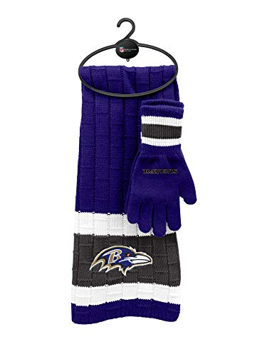 Baltimore Ravens Gloves - Littlearth NFL Baltimore Ravens Unisex Nflnfl Scarf & Glove Gift Set, Purple, Black, 2Piece Set