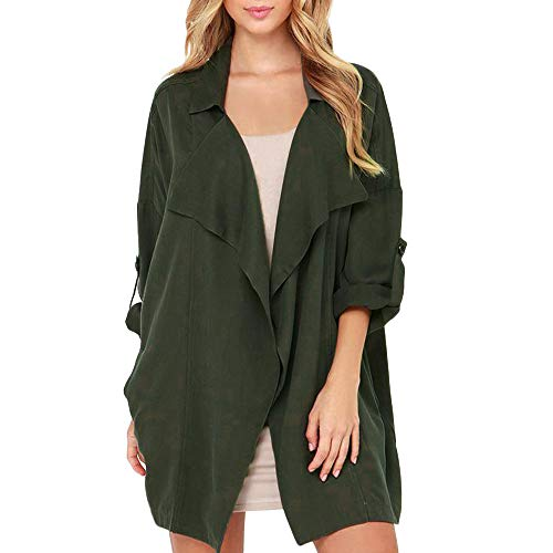 TOOPOOT Women's Cardigan,Ladies Open Front Long Sleeve Waterfall Collar Irregular Trench Coat by TOOPOOT-Coat