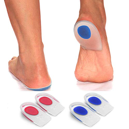Best Gel Heel Cups - Pair of Heel Cushion Shoe Inserts. Foot Pain Relief Insoles for Heels, Plantar Fasciitis, Heel Spurs, Achilles and Arch Pain, Orthopedic Tendonitis Support for Women and Men