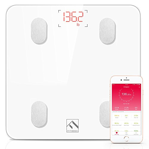 Body Fat Weight Scale - Bluetooth Body Fat Scale, FITINDEX Smart Wireless Digital Bathroom Weight Scale Body Composition Analyzer Health Monitor with IOS and Android APP for Body Weight, Fat, Water, BMI, BMR, Muscle Mass