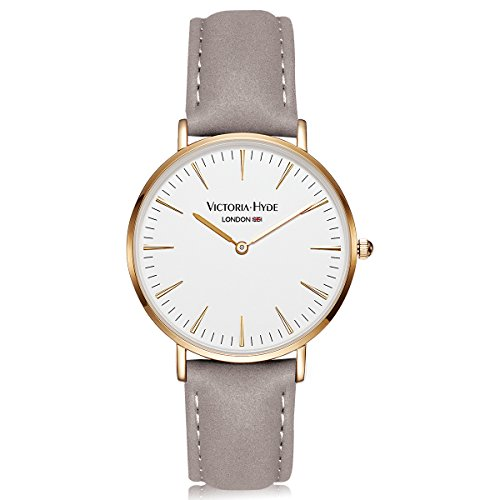 VICTORIA HYDE Women Men Quartz Wristwatch Gold Case Leather Band Waterproof For Lovers - Real Gift Simple Guide Holiday