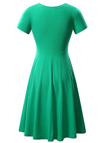 Short Women Round Casual Summer Flared Light Green HUHOT Neck Dress Midi Sleeve q5dxSqwp