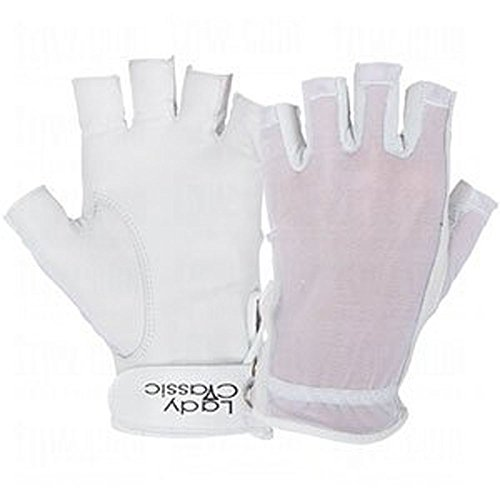 Lady Classic Ladies Solar Tan Golf Half Glove 1/2 Glove White Left Large