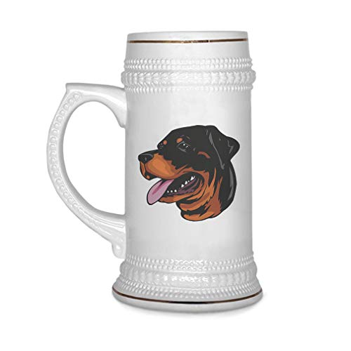 Custom Beer Mug Rottweiler Head Ceramic Drinking Glasses Beer Gifts White 18 OZ Design Only