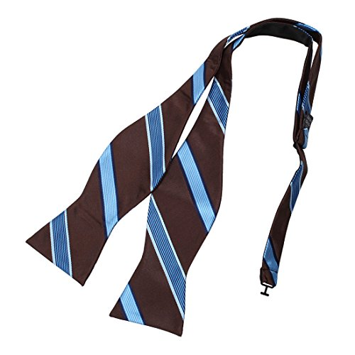 (Dan Smith DBA7A15C Brown Royal Blue Stripes Bow Tie Microfiber Perfect Design Self-tied Bow Tie)