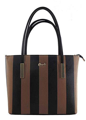 - Lady Women Handbags Wallets Sets Striped Leather Satchel Purses Shoulder Tote Shopper Bucket Bags