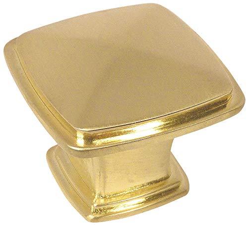 25 Pack - Cosmas 4391BB Brushed Brass Modern Cabinet Hardware Knob - 1-1/4'' Inch Square