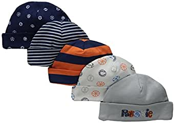Gerber Baby Boys' 5 Pack Caps, Sports, 0-6 Months