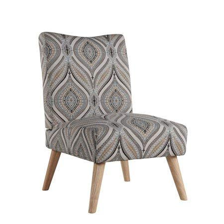 Mainstays Upholstered Slipper Chair with Wood Legs, Ikat (Upholstered Ikat Chairs)