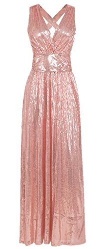 Pink Evening Sleeveless Glitter Deep Alion Backless Neck Party Sequin Dresses Women Bandage Elegant V C88YqO