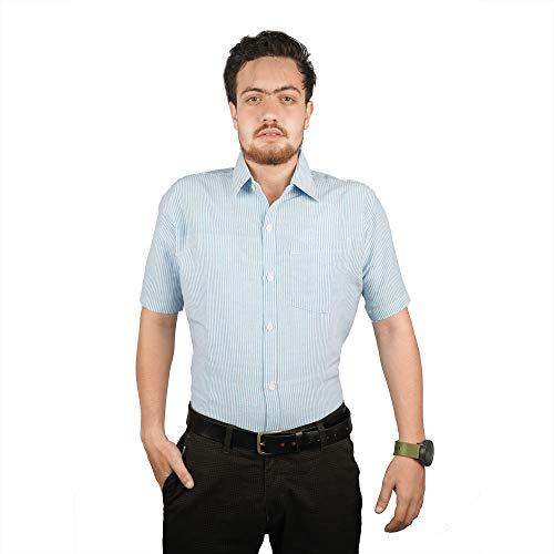 Asian Fasion Khadi Handloom Cotton Shirt for Men/Formal Shirt Shirt/Half Shirt (X-Large) (Sky Blue)