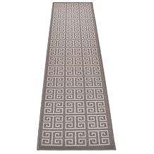 "Greek Key Meander Design Printed Slip Resistant Rubber Back Latex Runner Rug and Area Rugs (Grey, 1'11"" x 7')"
