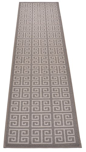 Greek Key Meander Design Printed Slip Resistant Rubber Back Latex Runner Rug and Area Rugs (Grey, 1'11