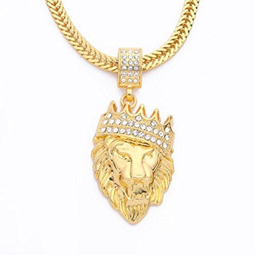 - Longay 1pcs Men & Women Long Hip Hop Lion Crown King Pendant Necklace Statement Sterling Jewelry (Gold)