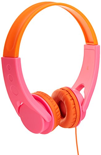 AmazonBasics Volume Limited On-Ear Headphones for Kids – Pink/Orange