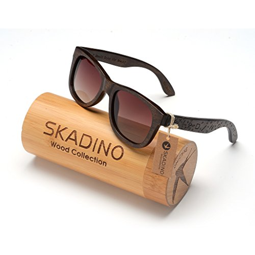 SKADINO Wayfarer Beech Wood Sunglasses with Polarized Lenses-Handmade Floating Wooden Shades for Men & Women-Letters by SKADINO