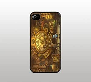 Old Fashion Clock Cartoon Hard Snap-On Case for iPhone 4 4s - Black - Cool Custom Cover - Cool Design