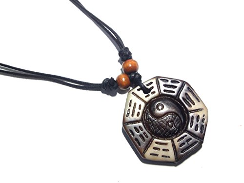 Ying Yang Taiji Eight Diagrams Pendant Necklace Handmade Necklace Adjustable Black Cord (Dark Brown)