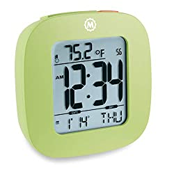 Marathon CL030058GR Special Edition Compact Alarm Clock with with Snooze, Light Feature, Temperature and Date - Pistachio Green - Batteries Included