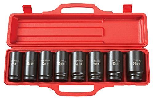 TEKTON 3/4-Inch Drive Deep Impact Socket Set, Metric, Cr-V, 6-Point, 27 mm - 38 mm, 8-Sockets | 4889