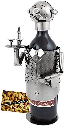 BRUBAKER Wine Bottle Holder Waiter - Metal Sculpture - Wine Rack Decor - Tabletop - with Greeting Card