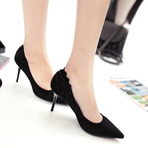 Punta con talón singles de fino zapatos femeninos del tacón flor satén alto zapatos de alto zapatos Su Black rEnxr6Fqv