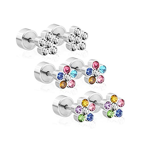 (LUXU kisskids Colorful Flowers Shape CZ Stainless Steel Stud Earrings for Teen Girls Women)