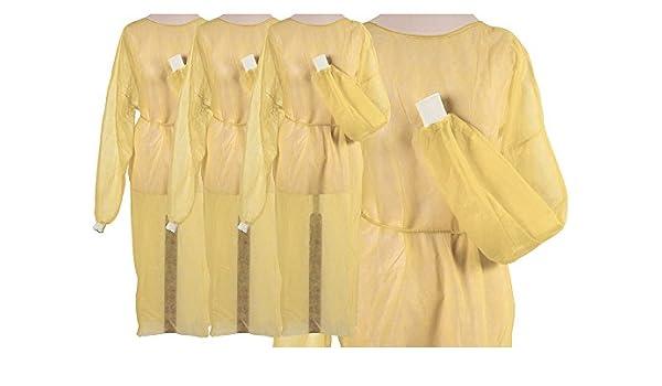 Batas de fieltro amarillas desechables, con puños, 100 unidades (10 x 10), aprox. 125 x 145 cm: Amazon.es: Salud y cuidado personal