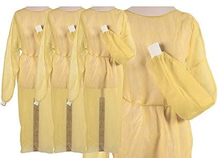 Batas de fieltro amarillas desechables, con puños, 100 unidades (10 x 10)