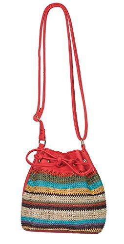 Multicolored Striped Raffia Leather Drawstring Crossbody Straw Bucket Bag (Coral)
