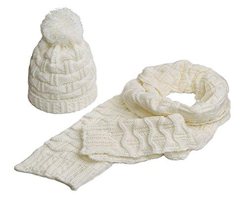 Winter Women Scarf Hat Set Knitted Skullcaps White - 1