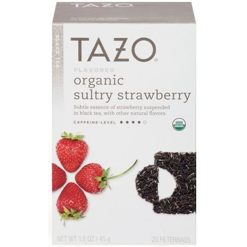 Tazo Organic Sultry Strawberry Black Tea - 20 bags per pack - 6 packs per case.