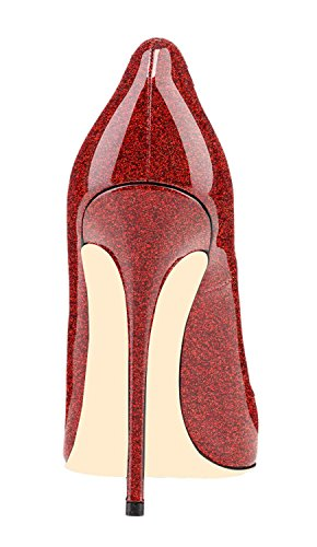Glitter Pumps red Heel Soireelady Women's Court Stiletto Toe High Shoes Peep 08zq04