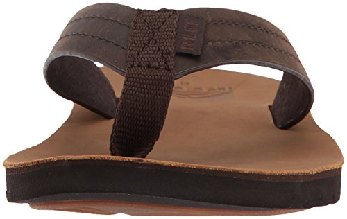 Footbed with Le for Men Waterproof Real Brown Flip Cushion Mens Voyage Premium Reef Flops Soft Tan Sandal Dark Leather 6wFBxqfn
