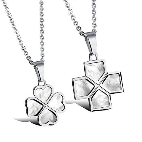 Infinite U Acier Inoxydable Trèfle à Quatre Feuilles Classique Forme de Croix Pendentif Collier pour Amoureux/Couple (Avec Sac Cadeau)