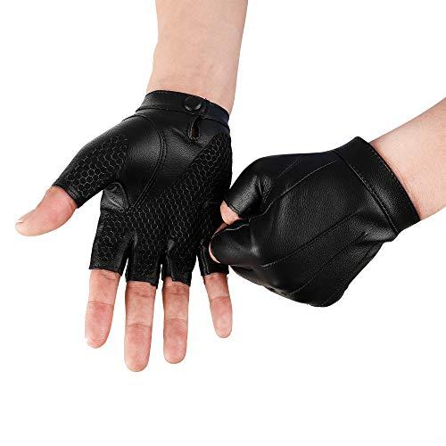 JISEN Men PU Leather Punk Half Finger Snap Performance Gloves Black1
