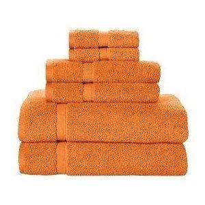 - 6 Piece 100% Cotton Towel Set - Orange
