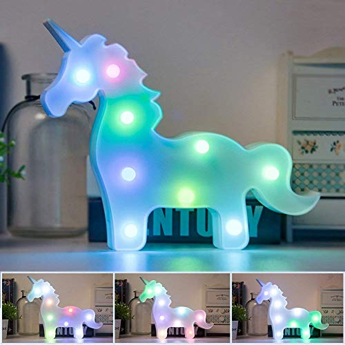 WHATOOK Rainbow Unicornio Light LED Decorative Night Light Wall Kids Unicorn Toys Decoration for Living Room,Bedroom,Home, Christmas (Battery Operated) (Colorful Unicorn Body)]()