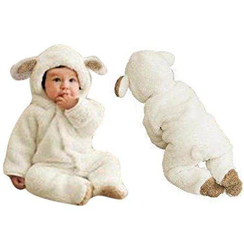 - GBSELL Newborn Baby Boys Girls Fleece Winter Rabbit Bear Romper Clothes Snowsuit (White, 9M)