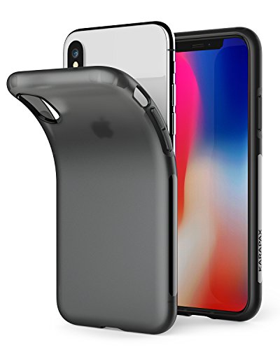 Anker Touch Case Matte Finish Flexible Soft Gel TPU Cover Shell Skin KARAPAX [Support Wireless Charging] [Thin Slim Fit] [Anti Scratch] for Apple 5.8 in iPhone X - Black