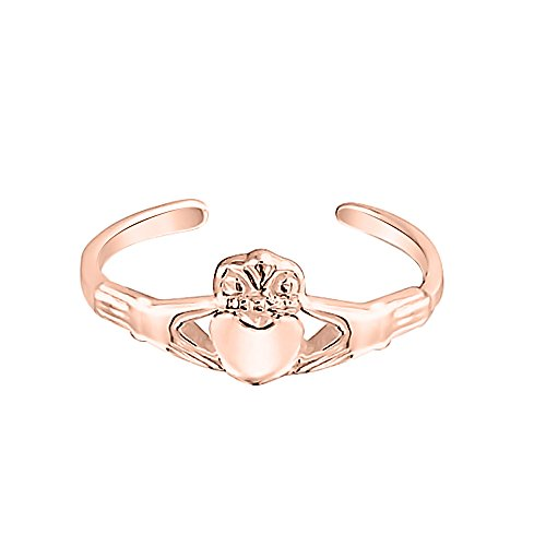 Toe Celtic 14k Ring (dazzlingjewelrycollection Beautiful 14K Rose Gold Plated 925 Sterling Silver Irish Love Celtic Midi Ring Adjustable Claddagh Heart Toe Ring)