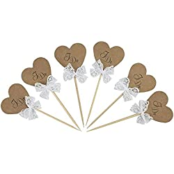 Vintage Rustic Kraft Paper Heart I DO Cake Cupcake Toppers Picks for Wedding Engagement Party Decorations 24 PCS