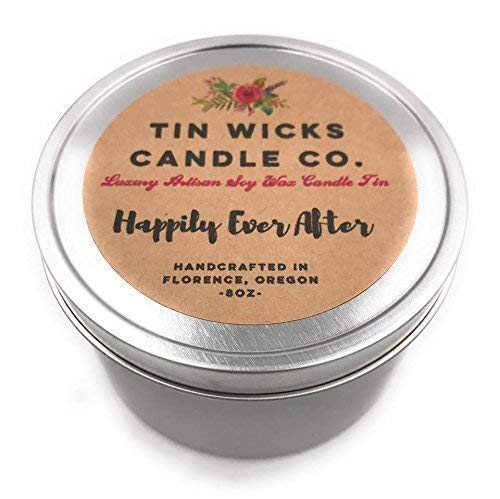 The Wedding Tins || 8oz. Luxury Artisanal Soy Wax Candle Tin || Tin Wicks Candle Co. || Highly Scented Candles || Handcrafted Soy Candles || Custom Wedding, Bridemaides & Engagement Gifts ()