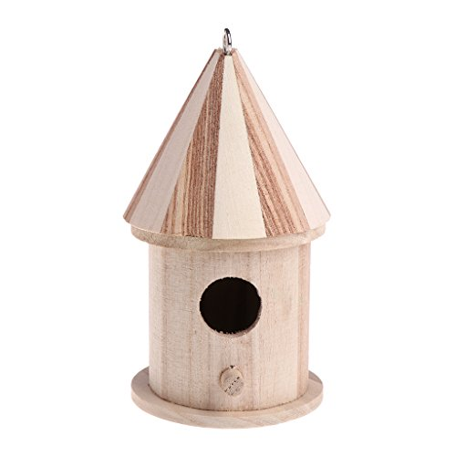 (Richi 8x16cm Wooden Nesting Nest Box Bird Cage House For Small Birds Blue Tit Wren)
