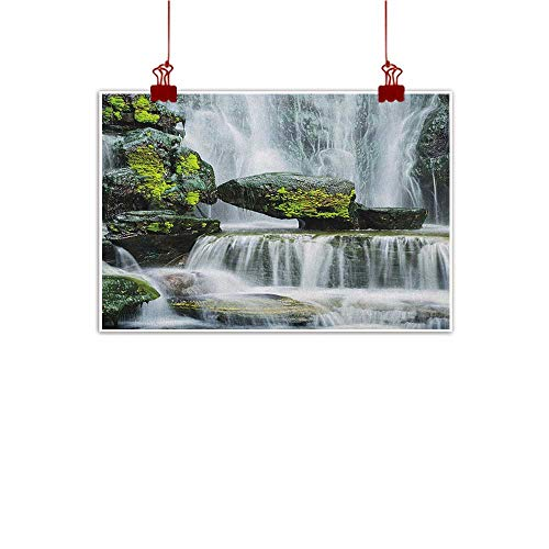 Sunset glow Wall Art Print Home Decor Waterfall,Majestic Waterfall Blocked with Massive Rocks with Moss on Them Photo, Green Black and White 32